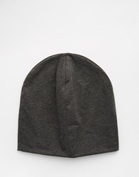 Asos Slouchy Beanie In Charcoal Jersey Charcoal Black