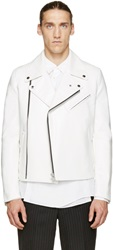 Comme Des Garcons White Faux Leather Printed Back Panel Jacket