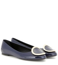 Roger Vivier Morbida Patent Leather Ballerinas Blue