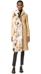 Msgm Wool Peacoat With Fox Fur Trim Beige