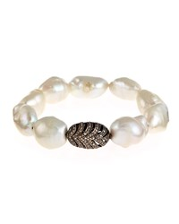 Bavna Baroque Pearl And Champagne Diamond Stretch Bracelet Women's