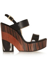 Jimmy Choo Notion Leather And Wood Wedge Sandals Black