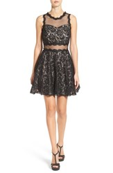 Speechless Women's Glitter Illusion Lace Skater Dress
