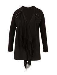 Morgan Laced And Tasselled Waterfall Cardigan Black