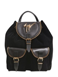 Giuseppe Zanotti Velvet Backpack With Zip Leather Details