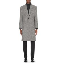 Kilgour Peak Lapel Alpaca Blend Coat Lt Grey
