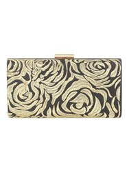 Jane Norman Black And Gold Embroidered Flower Clutch Black Multi