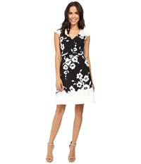 Adrianna Papell Ikat Floral Printed Fit And Flare Dress Black Ivory Women's Dress