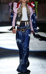 Dsquared2 Heraldic Embroidered Puff Sleeve Jacket Pink Blue Gold