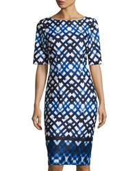 Eliza J Geometric Print Half Sleeve Sheath Dress Blue Pattern