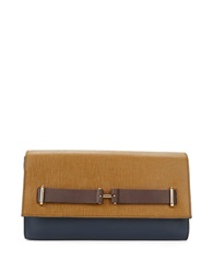 Vince Camuto Jemma Leather Clutch Dark Blue Beige