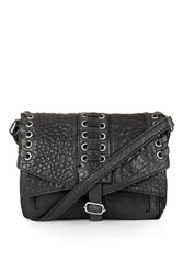Topshop Mini Eyelet And Weave Satchel Black