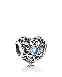 Pandora Design Pandora Charm Sterling Silver And Crystal March Signature Heart
