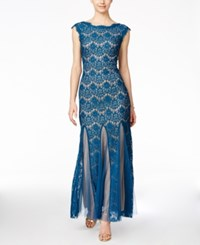 Betsy And Adam Cap Sleeve Lace Gown Peacock Mocha