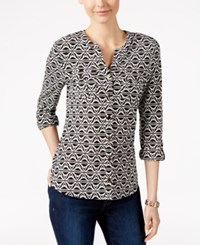Charter Club Printed Button Front Shirt Only At Macy's Deep Black Combo