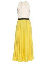 Emilio De La Morena Azov Halterneck Silk Blend Dress Yellow White