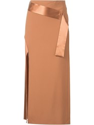 Dion Lee Belted Shell Skirt Brown