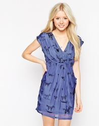 Traffic People Silk Flatter Me Dress In Illustrated Animal Print Blue