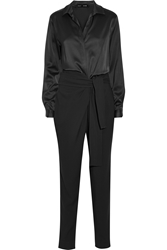 Jay Ahr Satin And Stretch Crepe Jumpsuit
