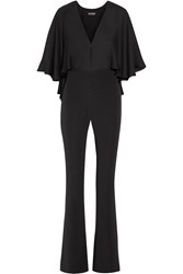Haney Carrie Cape Effect Silk Chiffon And Stretch Crepe Jumpsuit Black