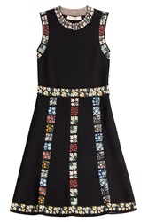 Valentino Embroidered Stretch Dress Black