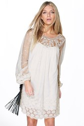 Boohoo Lois Lace And Crochet Shift Dress Cream