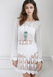 Forever 21 Raga La Scalloped Crochet Dress White