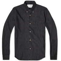 Everyman 1950S Button Down Shirt Black Denim