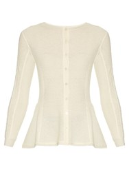 Oscar De La Renta Lace Panel Wool Cardigan Cream