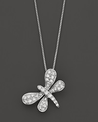 Bloomingdale's Diamond Dragonfly Pendant Necklace In 14K White Gold 0.10 Ct. T.W. No Color