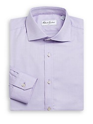 Robert Graham Regular Fit Chevron Stitched Cotton Dress Shirt Lavender