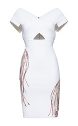 Zuhair Murad Knee Length Embroidered Punto Milano Knit Dress With 50'S Neckline White