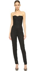 Monique Lhuillier Strapless Jumpsuit Noir