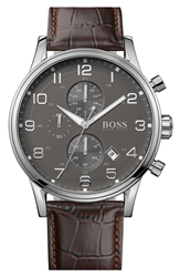 Hugo Boss Stainless Steel And Leather Chronograph Watch 44Mm Brown