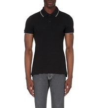 Armani Jeans Embroidered Logo Stretch Cotton Polo Shirt 12 Nero Black