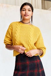 Bdg Cable Cropped Pullover Sweater Mustard