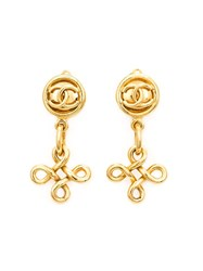 Chanel Vintage Drop Knot Earrings White