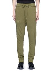 R 13 Raw Cut Drawstring French Terry Sweatpants Green