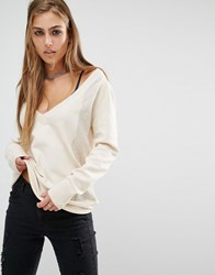 Rock And Religion Bailey V Neck Jumper Cream