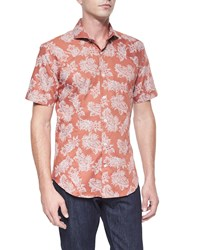 Bogosse Floral Paisley Print Short Sleeve Shirt Orange Black