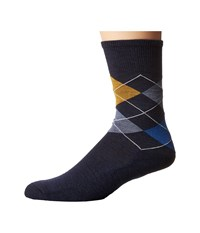 Smartwool Diamond Jim Deep Navy Bright Blue Heather Men's Crew Cut Socks Shoes Black