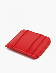 Comme Des Garcons Red Raised Spike Leather Zip Coin Wallet