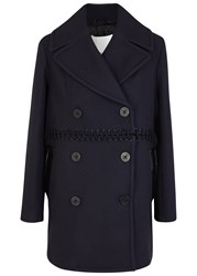 3.1 Phillip Lim Navy Lace Up Wool Blend Peacoat