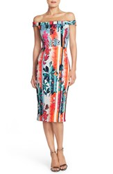 Women's Eci Floral Print Off The Shoulder Scuba Midi Sheath Dress