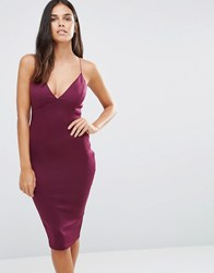 Ax Paris Deep V Front Midi Dress Plum Purple