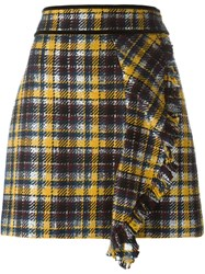 Msgm Front Ruffle Checked Skirt Yellow And Orange