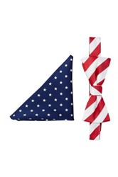 Alara Stars And Stripes Bow Tie And Pocket Square Set Red