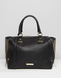 Dune Studded Tote Bag With Zipable Gusset Black
