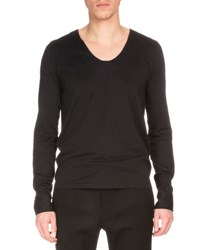 Berluti Long Sleeve V Neck T Shirt Black