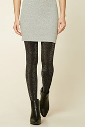 Forever 21 Metallic Knit Tights Black Silver